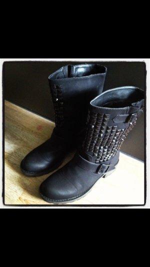 Stiefel Boots Nieten Schwarz 38