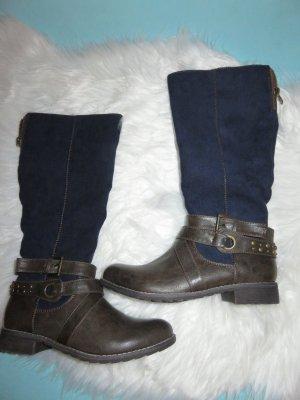 Pep Step Botas de equitación color bronce-azul oscuro Imitación de cuero