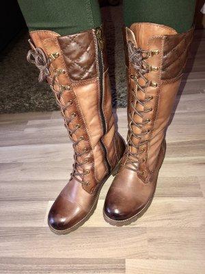 Tamaris Bottes à lacets brun-marron clair