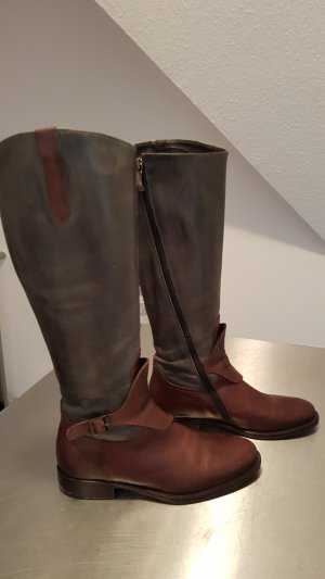 Riding Boots brown-pale blue leather
