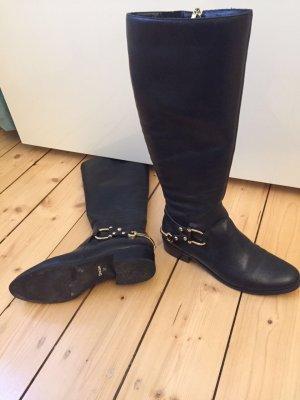 Stiefel Dune 37 schwarz mit Gold echt Leder