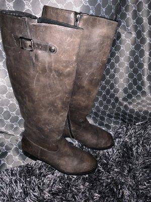 Paul Green Bottes à tige large gris brun-marron clair