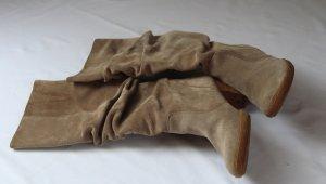 Stiefel ECHT Velour Leder Wildleder  beige braun  Knitteroptik  Gr. 40,5  /  Gr. 7 Paul Green
