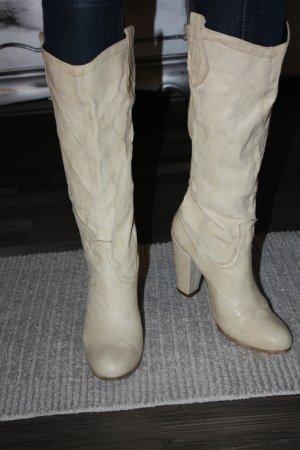 Stiefel Echtleder Leder 39 beige creme aus Italien