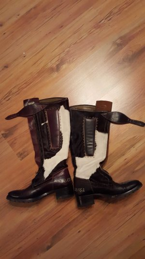 La Martina High Boots dark brown-natural white