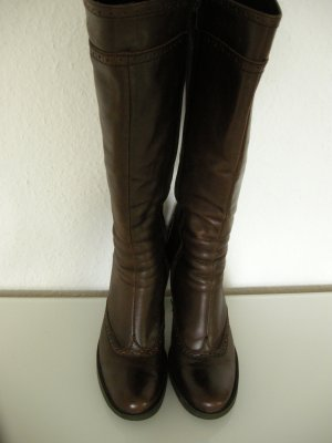 Platform Boots dark brown leather