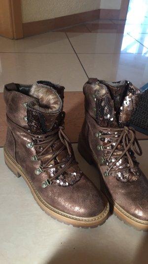 Stiefel Glitzer Pailletten braun Fell Boots