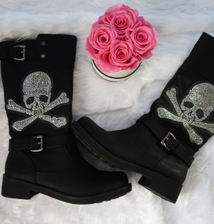 Gothic Boots black-silver-colored imitation leather