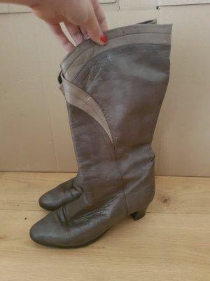 Korte laarzen grijs-donkergrijs Leer