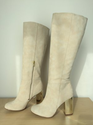 H&M High Boots cream-gold-colored