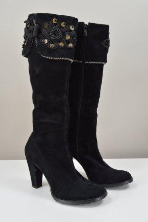 Stiefel in schwarz mit Perlen Größe 37