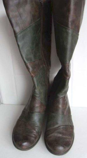 Stiefel in zwei Farben Braun & Grün Blockabsatz