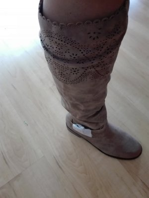 Just Fab Stretch Boots light brown