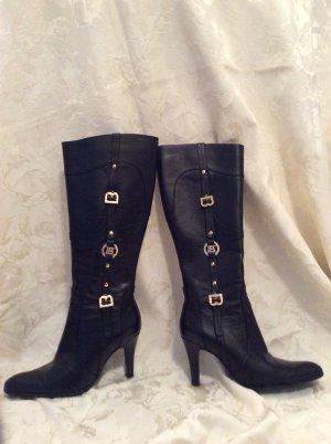 Stiefel Laura Biagiotti NW schwarz Leder Absatz 9 cm Höhe ca. 40 cm, Größe 37