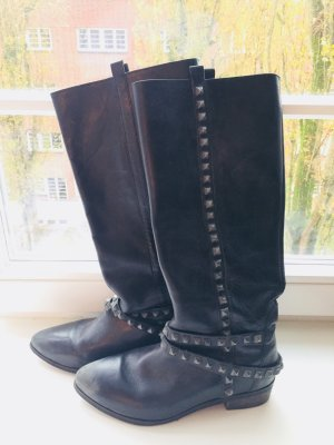 Zara High Boots black-silver-colored
