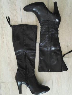 Botte à plateforme noir cuir