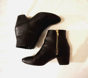 H&M Zipper Booties black-gold-colored