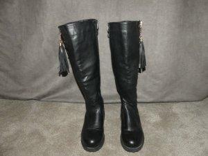 Stiefel mit Blockabsatz, Warm Gefüttert, Schwarz