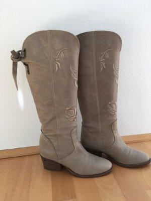 Zapatillas para casa beige-marrón arena Cuero