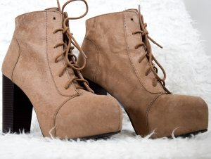 H&M Platform Boots dark brown-bronze-colored imitation leather