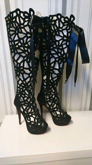 Botas con plataforma negro tejido mezclado