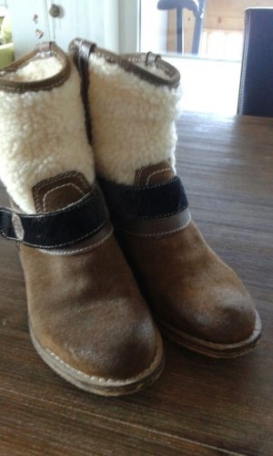 Western Booties brown-natural white leather