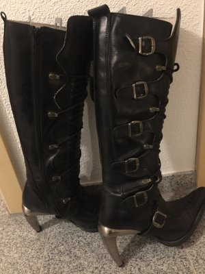 New rock Gothic Boots black leather