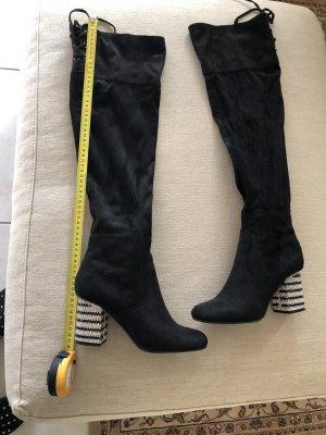 Stiefel Overknees gr 39 mit Strassabsatz schwarz