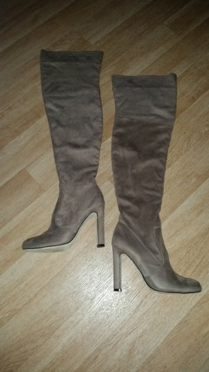 Stiefel Overknees taupe Gr. 39