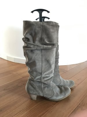 Paul Green Wide Calf Boots grey brown-light brown suede