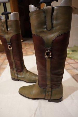 Stiefel Salvatore Ferragamo Beascuit grün/braun Größe 38
