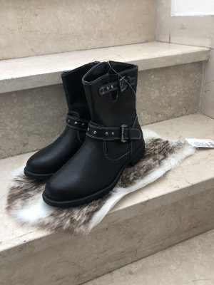 Short Boots black-silver-colored