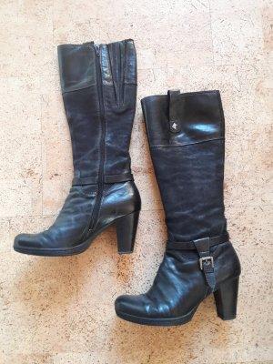 Stiefel schwarz Absatz Gabor Leder