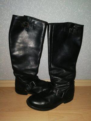 Stiefel schwarz Gr. 39 Buffalo Echtleder gebrauchter guter Zustand