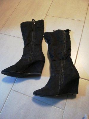 Stiefel, schwarz, Größe 38, Keilabsatz, Wildleder