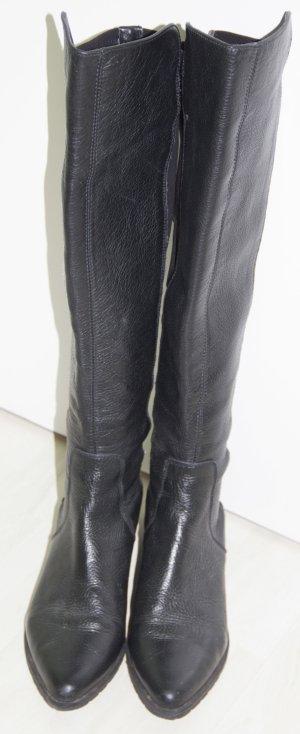 Stiefel schwarz overknees Gr. 38 von Zara Women Leder & Stoff