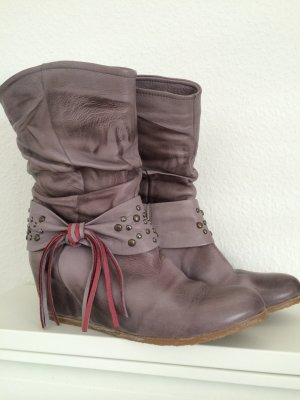 Stiefel Stiefelette 38 taupe grau Fransen Country