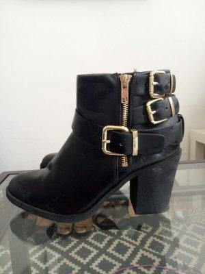 Stiefel Stiefelette Boots Biker Booties Gold Schwarz H&M 38 Blogger