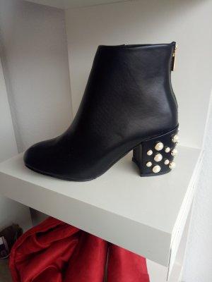 Stiefel Stiefelette Stiefeletten Boots Booties Schwarz Blogger Perlen Perle 38