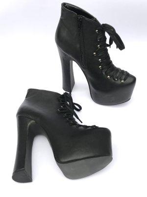 Stiefel Stiefeletten Gr 41 Gothic Punk High Heels Plateau Schnüren schwarz