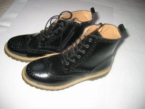 Stiefel Stiefeletten Lack Leder Gr. 38 schwarz neu BRONX