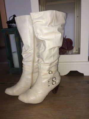 Stiefel Tamaris Teddyfell Absatz 7cm creme Gr. 38
