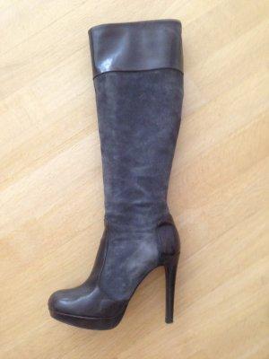 alberto zago Heel Boots dark brown-dark grey leather