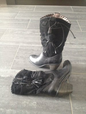 Janet & Janet Western Boots black leather