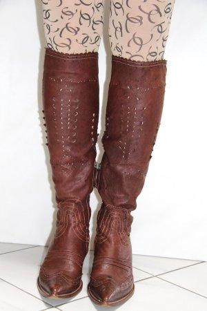 Ermanno Scervino Western Boots dark brown leather