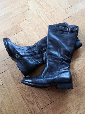 Jana Wide Calf Boots black leather