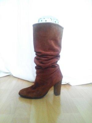 Mango casual Heel Boots dark orange-cognac-coloured suede