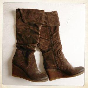Stiefel von MJUS mit Umschlag, Overknee, Wildleder, Wedges, NEU mit Etikett!