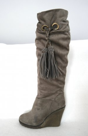 Slouch Boots grey brown imitation leather