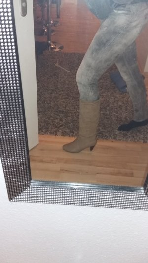 Stiefel von Zara in Beige